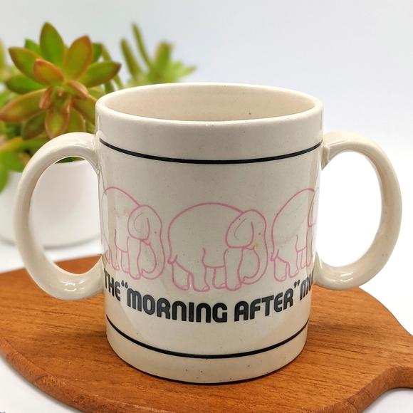 Vintage Pink Elephants Morning After Ceramic Mug